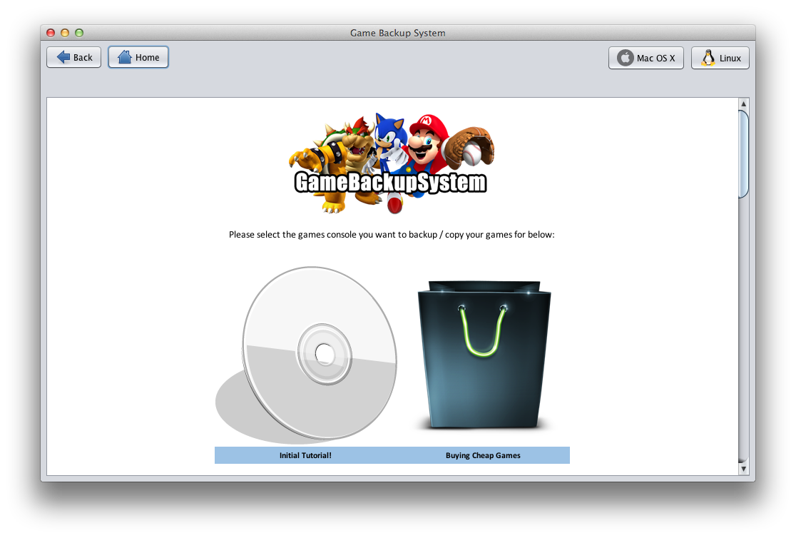 Game Backup System working on Mac OS X